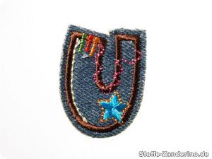 Funny jeans letters : U, fusible