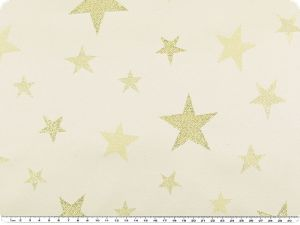 Jacquard fabric, Lurex, stars, white-gold, 160 cm