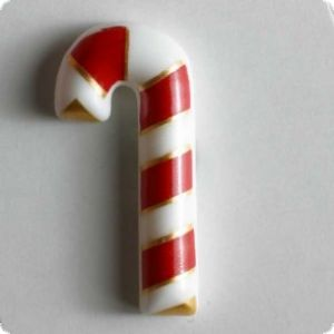 Button Christmas Candy Stick, 23mm, white-red-gold