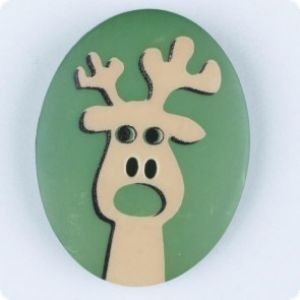Button Christmas moos elk, 25mm,green