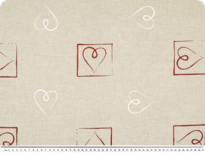 Decoration fabric, hearts, ecru-red, 140cm