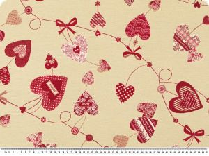 Jacquard deco fabric, hearts, cream-red, 140cm