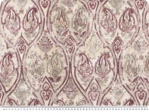 Decoration fabric,ornaments and flowers, ecru-plum, 140cm