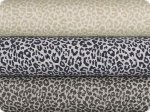 Jacquard deco fabric, fur pattern, white-navy, 140cm