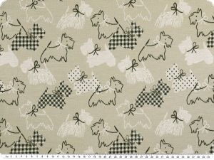 Jacquard deco fabric, dogs, light beige-black, 140cm
