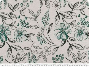 Jacquard deco fabric, flower mix, turquoise-green, 140cm