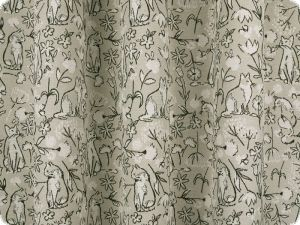 Jacquard deco fabric, cats and flowers, ecru-black, 140cm