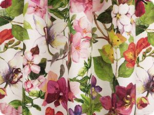 Deco fabric,  panama, flowers & butterflies, multicolour