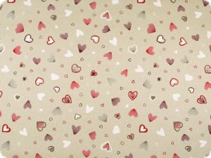 Deco fabric, hearts, ecru-red, 140cm