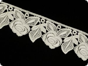 Beauty cotton lace, roses, white, 65mm