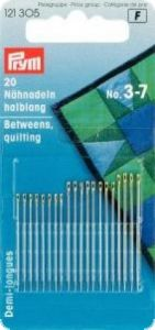 Sewing needle, no.3-7, 20pcs. silver/gold
