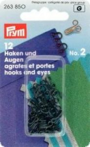 Hooks and eyes, 12pcs., No. 2, medium, black