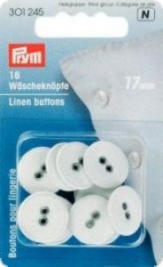 Linen buttons, 'linen' ,Ø 17mm, white, 16pcs.