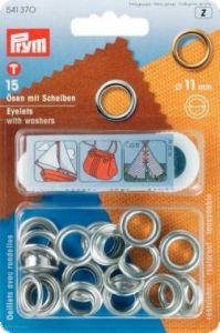 Eyelets with washers, 11mm, silver, 15pcs.