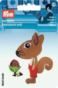 Embroidered motif, squirrel, multicolour, for ironing on