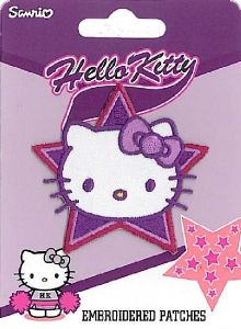Embroidered Patch, Star Hello Kitty, purple