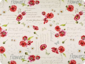 Deco fabric , 'flowers', cream-red, 140cm