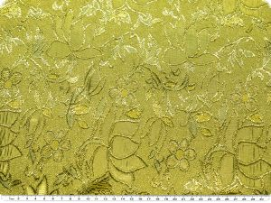 Jacquard with lurex, flowers, blue-yellow-gold, 135cm