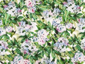 Viscose print, elastic, flowers, green-white-mallow, 146cm