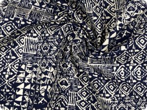 Cotton fabric, blue and white, ormaments, 160cm