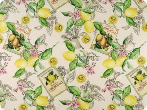 Coated table cloth, cotton, lemons, 150cm