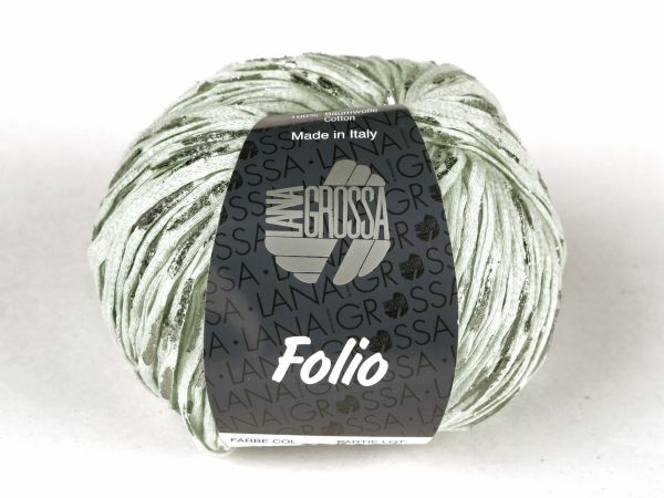 Cotton ribbon yarn with foil print, stone, 50g/105m WOLG
