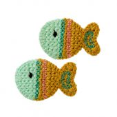 Crochet Patches, fish, 2 pcs., ca. 3,5 x 2,5 cm