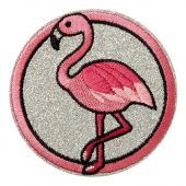 Patch flamingo, pink-silver glitter, Ø 7cm