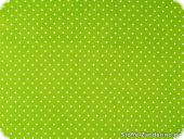 Cotton print with small dots, 2mm, green-white, 140cm