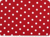 Cotton print with dots, 1cm, red-white, ca. 140cm