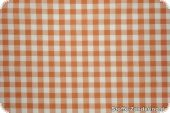 Cotton fabric check, ca.1cm, orange-white, 140cm