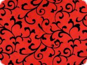 Taffeta flocked with tendrils, red, 145cm