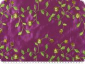 Taffeta embroidered, flowers, violet, 135cm