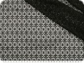 Net fabric with geometric flowers, black, 136cm