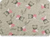Cotton jersey for children, sweet mice, grey-pink, 150cm