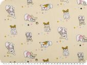 Children fabric, cotton, sweet pugs, cream, 160cm