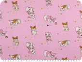 Children fabric, cotton, sweet pugs, rose pink, 160cm