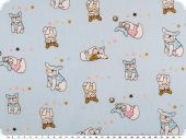 Children fabric, cotton, sweet pugs, light blue, 160cm