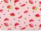 Cotton jersey for children, melon pieces, rose pink-magenta