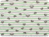 Striped Cotton jersey for children, dogs,  white-mint, 150cm