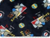 Superfleece, children fabric, kangaroos, navy, 150cm