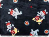 Superfleece, children fabric, rabbits, navy, 150m
