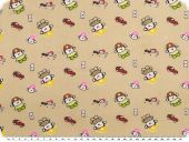Cotton print for children, cars and police men, beige, 155cm