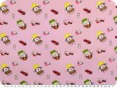 Cotton print for children, cars and police men, rose, 155cm