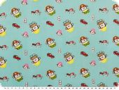 Cotton print for children, cars and police men, blue, 155cm