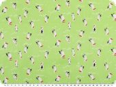 Cotton print for children, pelicans, light  green, 150cm