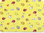 Cotton print for children, fishes, yellow, 150cm