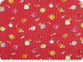 Cotton print for children, fishes, red, 150cm