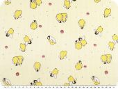 Cotton print for children, penguins, yellow, 155cm