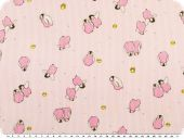 Cotton print for children, penguins, pink, 155cm
